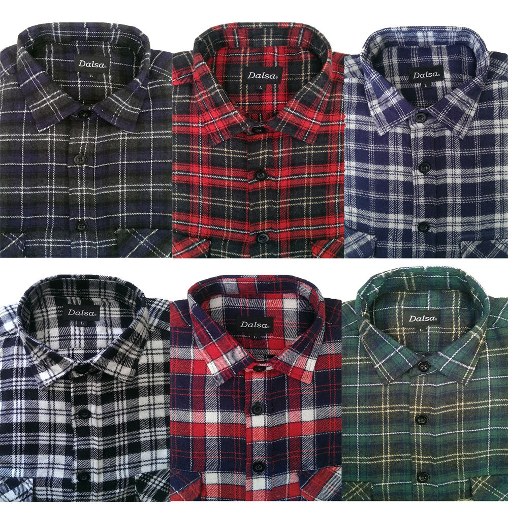 Mens flannel brushed cotton work shirts lumberjack check for Flannel checked long sleeve shirt
