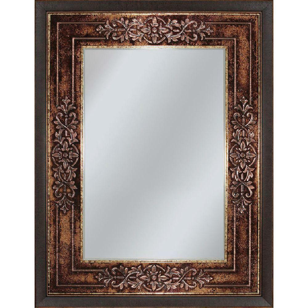 27x35 amber gold framed wall mirror european textured scroll genoa bronze 6262 ebay for Bronze framed bathroom mirror