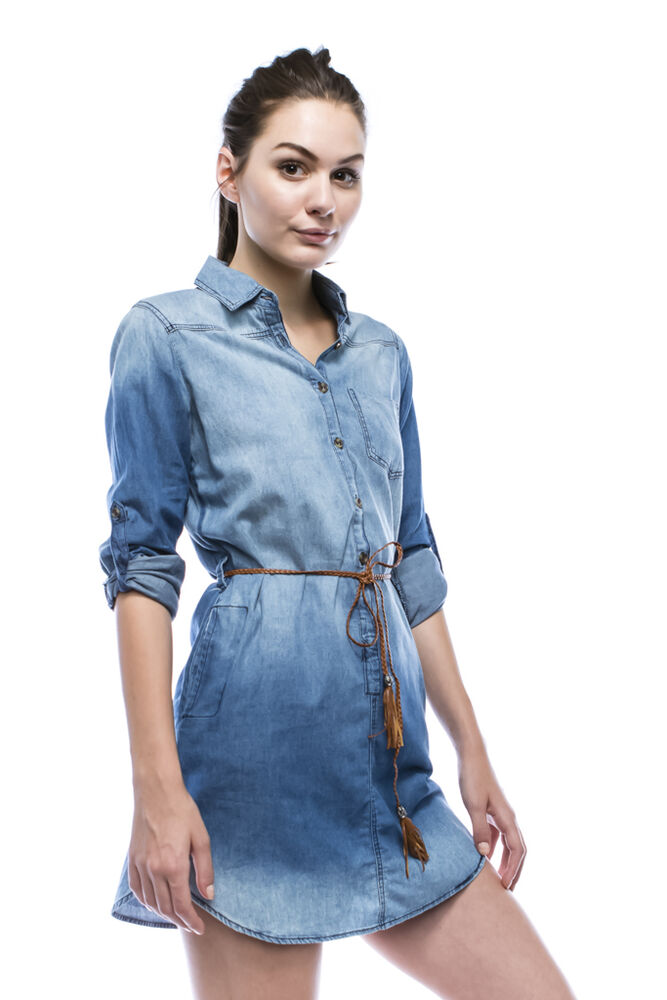 Womens Long Chambray Shirt