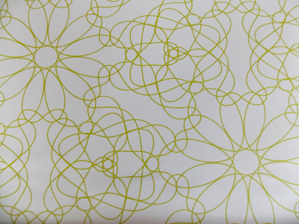 Floral flower lime green white lines self adhesive sticky for Wallpaper with adhesive backing