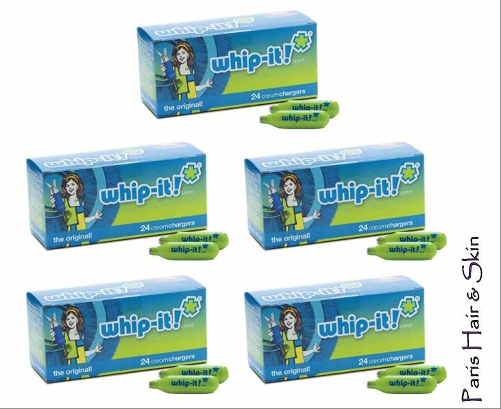 whip it 120 whipped cream chargers 5 boxes of 24 nitrous oxide n2o ebay. Black Bedroom Furniture Sets. Home Design Ideas