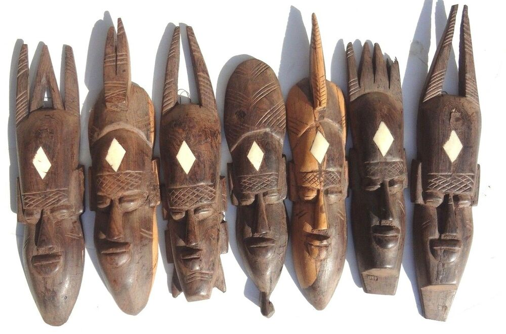 Vintage African Faces Mask Seven Days Of The Week Hand