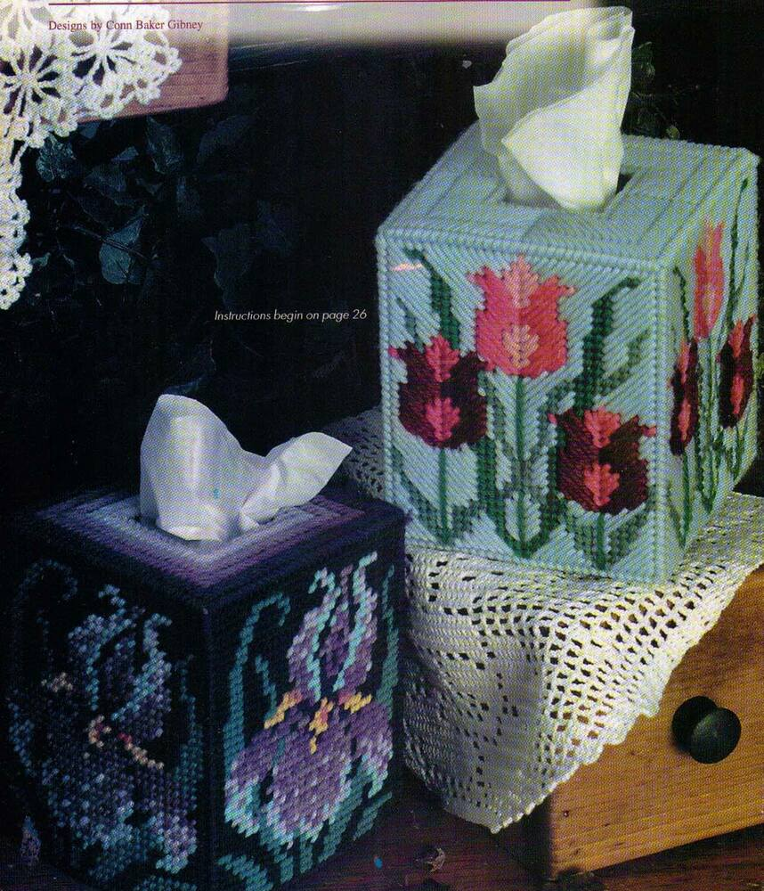 Spring bouquet tissue boxes covers flowers plastic canvas for Tissue box cover craft
