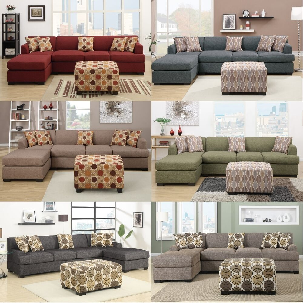 Modern sectionals sofa couch 6 colors 2 pc living room for Living room 2 sofas