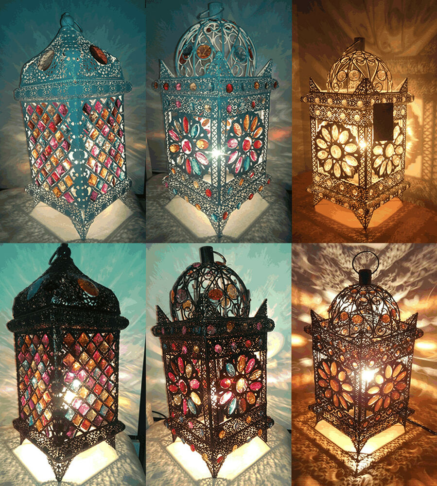 Moroccan Style Jeweled Cutwork Flower Table Lamp Vintage