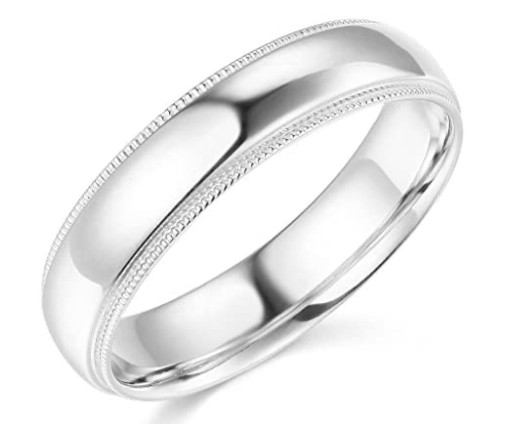 14k Yellow Gold High Polished 2mm Traditional Milgrain: Solid Real 14K White Gold Wedding Anniversary Band Ring