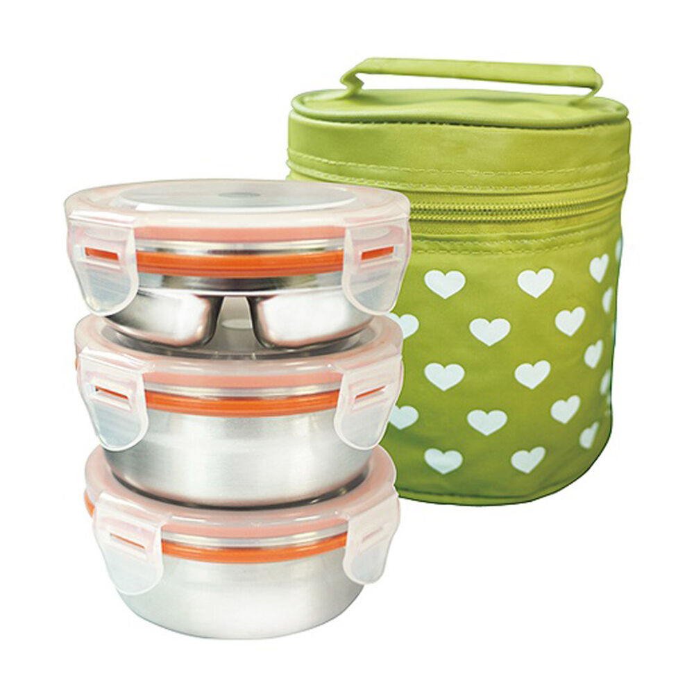 stainless steel 3 container circle bento lunch box insulated bag food storage ebay. Black Bedroom Furniture Sets. Home Design Ideas