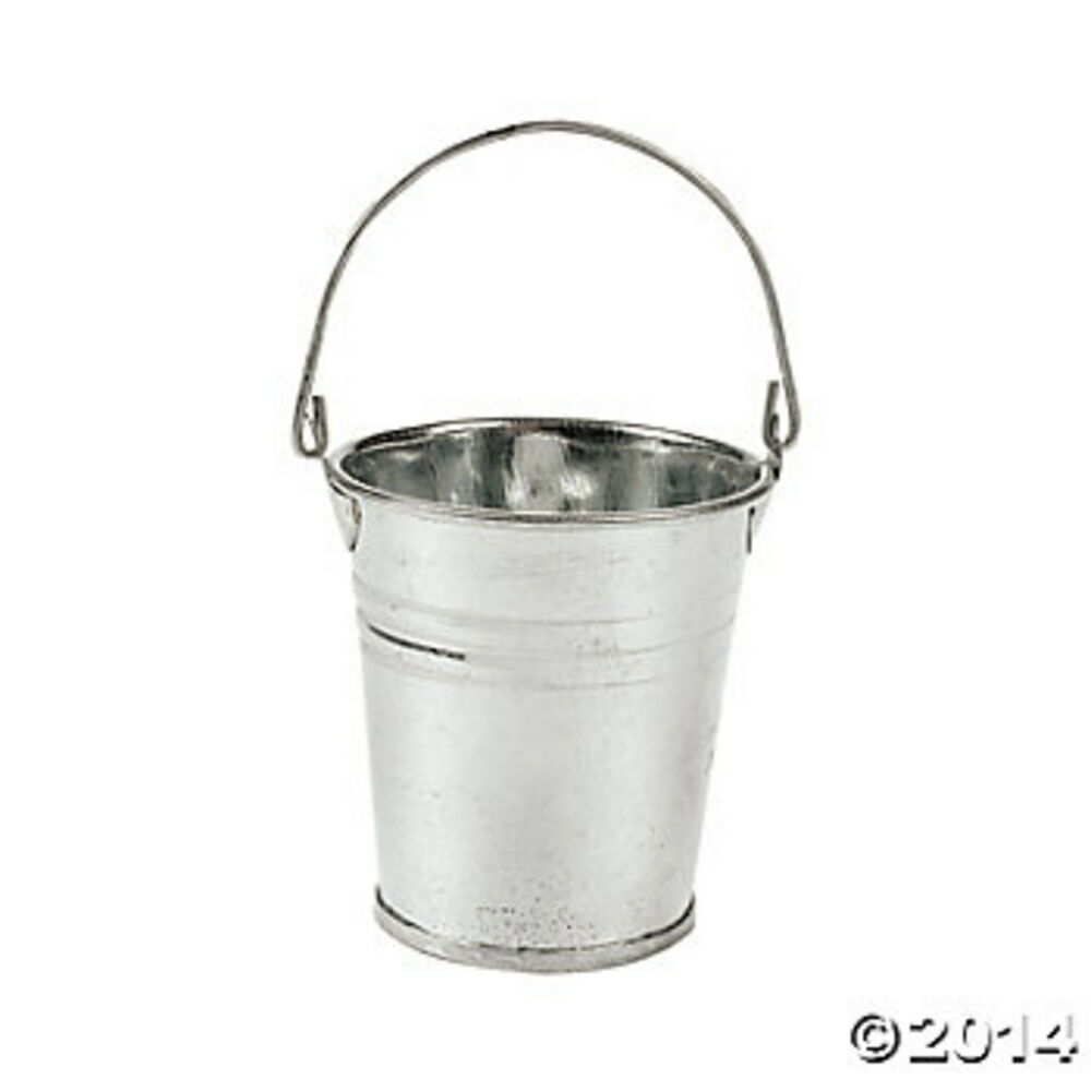 12 mini galvanized metal pails buckets 2 1 4 diam x 2 1