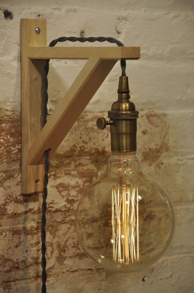 Antique Wood Wall Lamps : Wall Sconce Antique Brass Birch Wood Light Lamp Industrial Retro Vintage Solid eBay