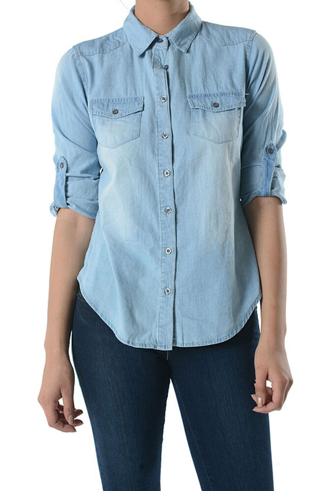 Womens chambray button down shirt with roll up sleeves for Chambray shirt women
