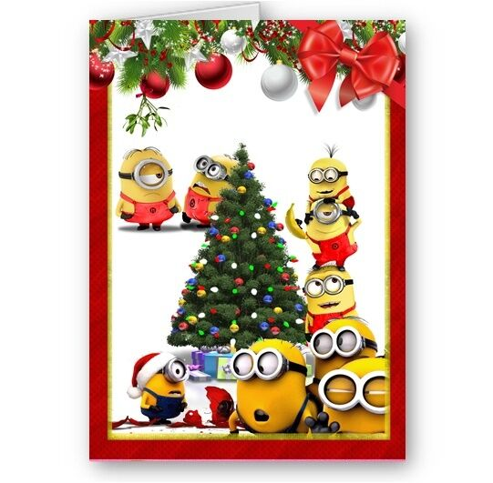 Despicable me 2 minions holidays a5 happy christmas festive card