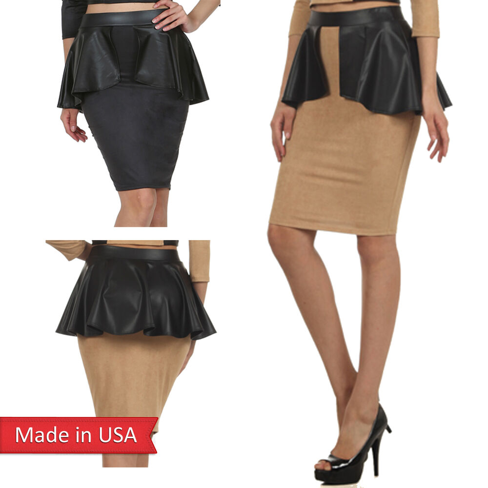 faux suede leather peplum detail high waist