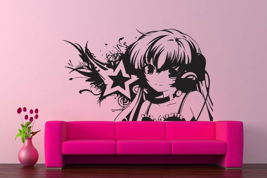 Wall vinyl sticker decals kids room decor mural anime dj for Cheap wall mural decals