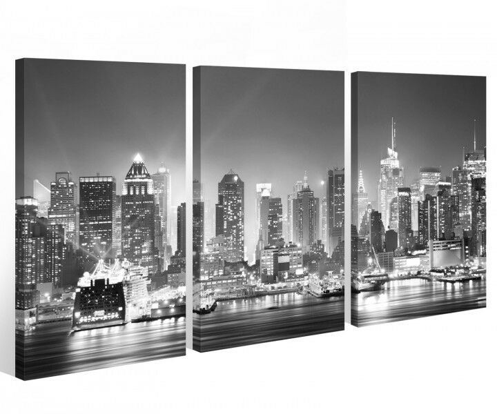leinwand 3 tlg new york schwarz wei skyline stadt usa bilder wandbild 9a522 ebay. Black Bedroom Furniture Sets. Home Design Ideas