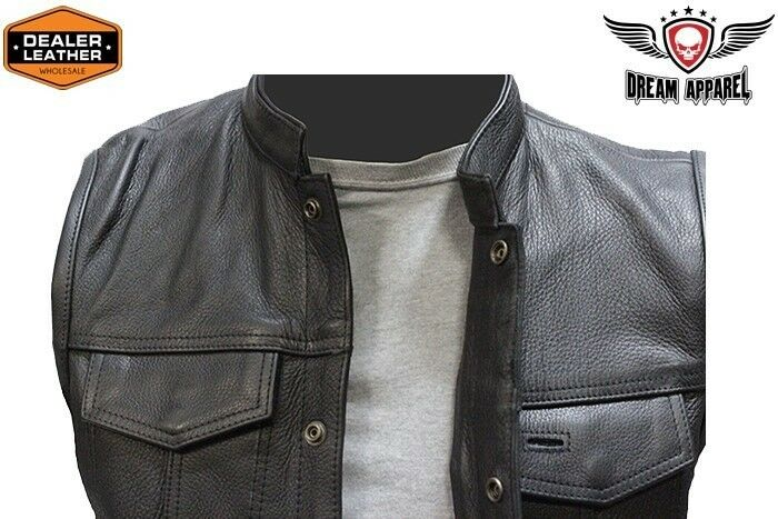 Concealed Carry Leather Outlaw Mc Club Biker Vest Free