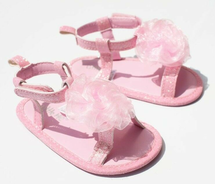 NEW Baby Girl Pink Tulle Sandal Shoes Size 0 12 months 2 3