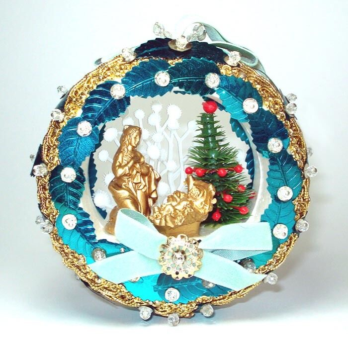 Vintage Religious Nativity Christmas Ornament: Pin Beaded Sequined Nativity Scene Diorama Christmas