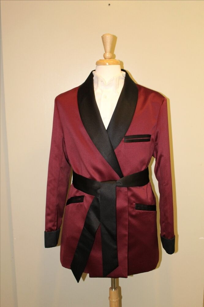 Mens Smoking Jacket Burgundy Black Satin Fully Lined Ebay