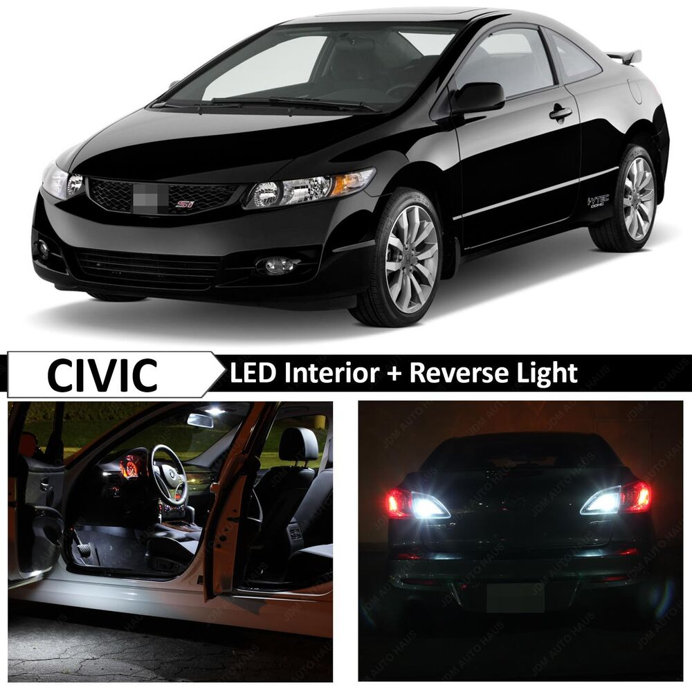 White Interior Reverse Led Light Package Kit 2006 2012 Honda Civic Coupe Ebay