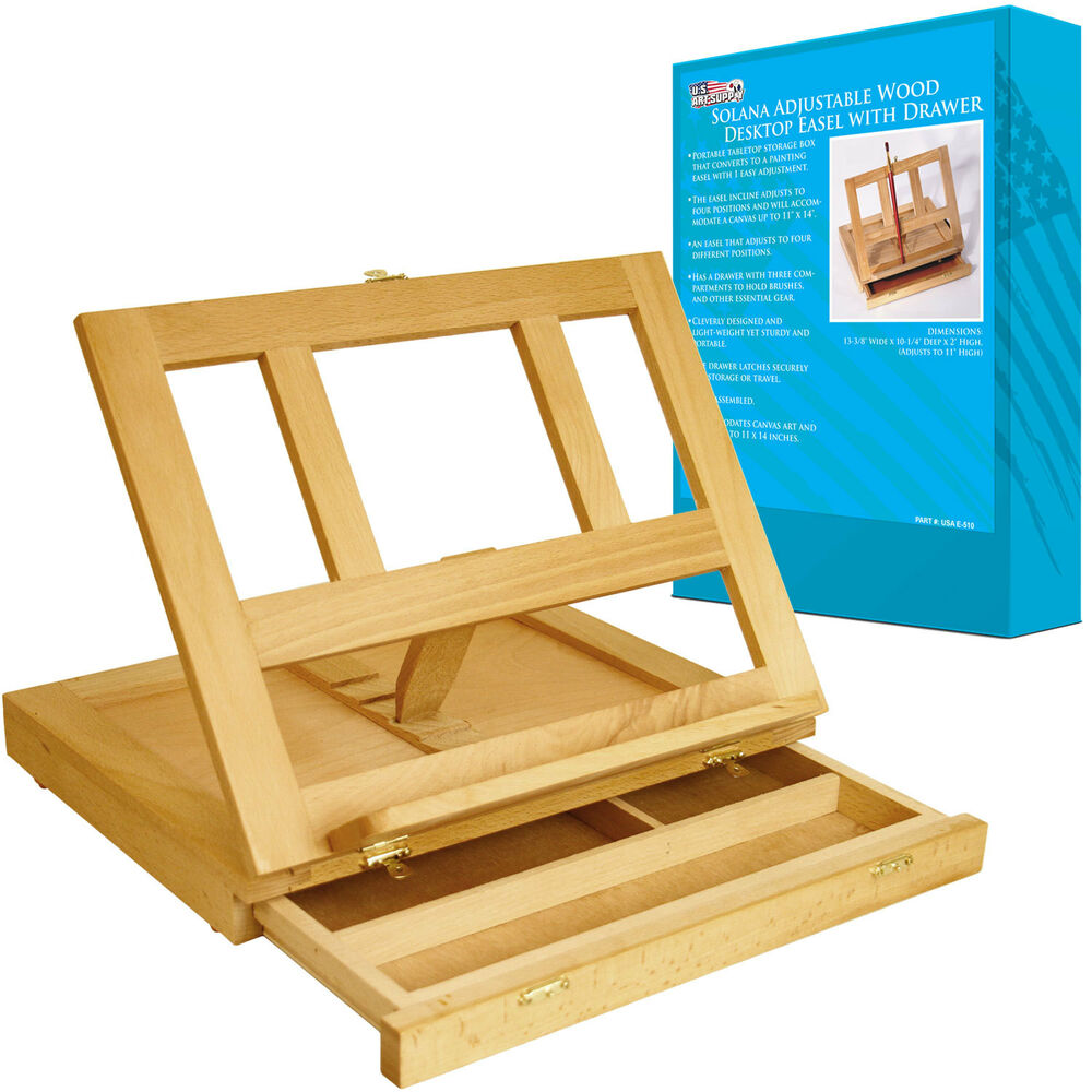 Artist Wood Tabletop Portable Desk Easel With Storage