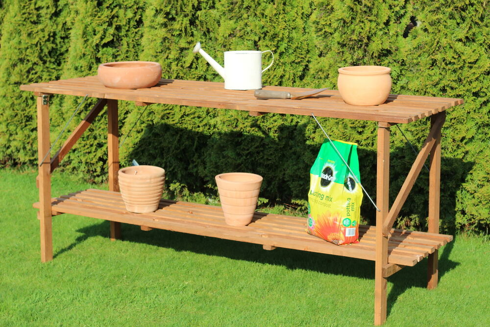 6 X 21 Quot Wooden Folding Greenhouse Staging 6ft Potting