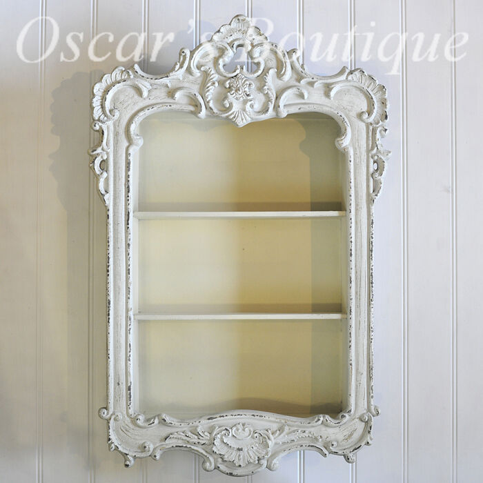 Shabby Chic Wall Hanging Shelf Display Unit Cream French Rococo Cabinet Bathroom