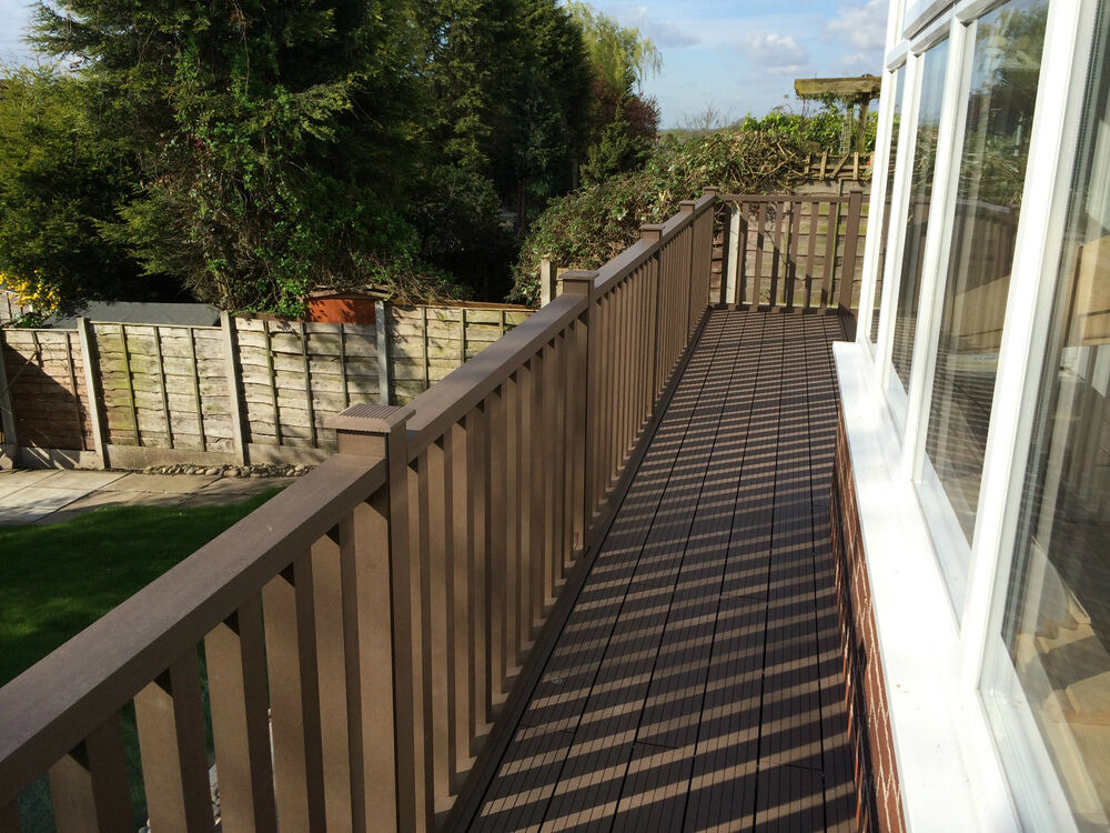Wood plastic composite deck balustrade pack in walnut 1 for Plastic composite decking