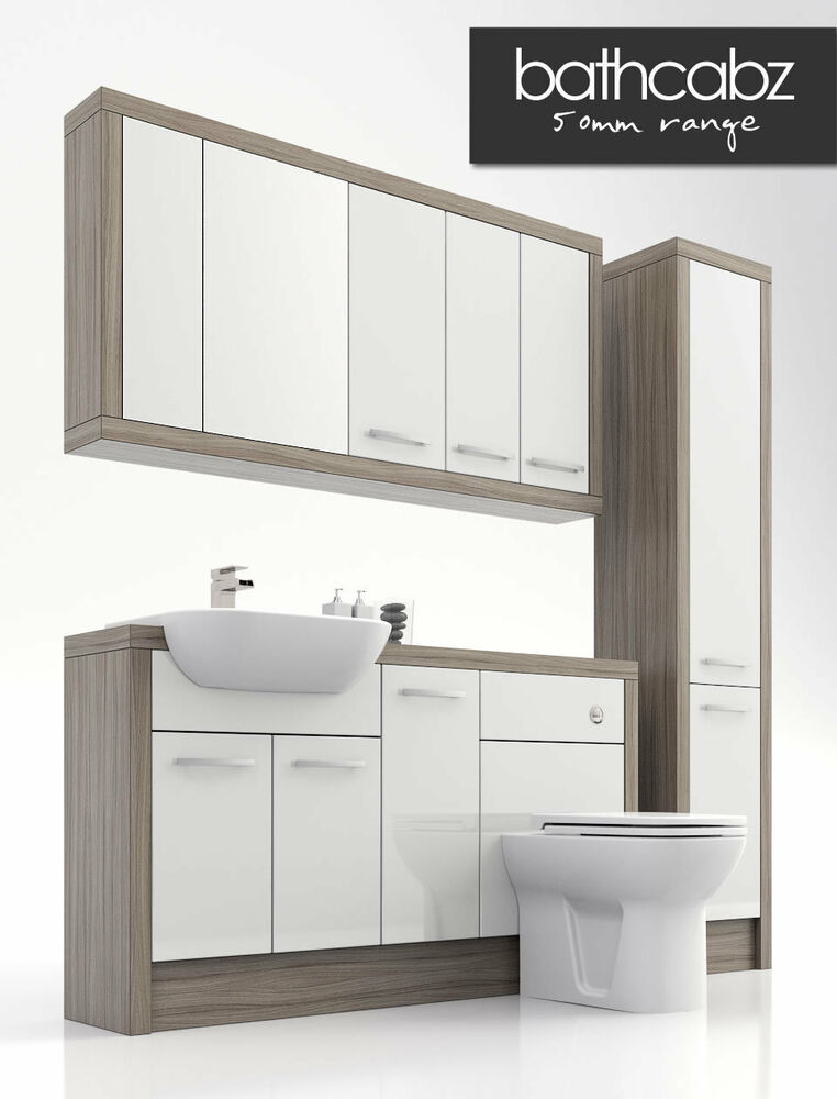 White driftwood bathroom fitted furniture 1500mm ebay for White bathroom furniture