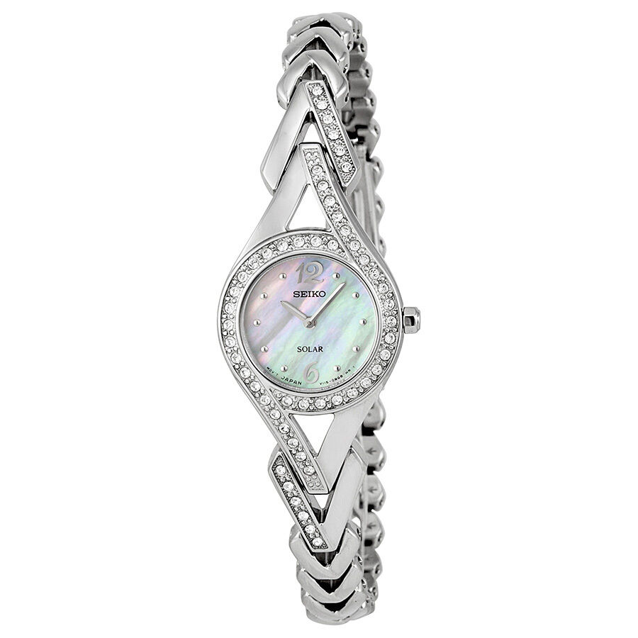 Seiko solar mother of pearl diamonds ladies watch sup173 ebay for Pearl watches