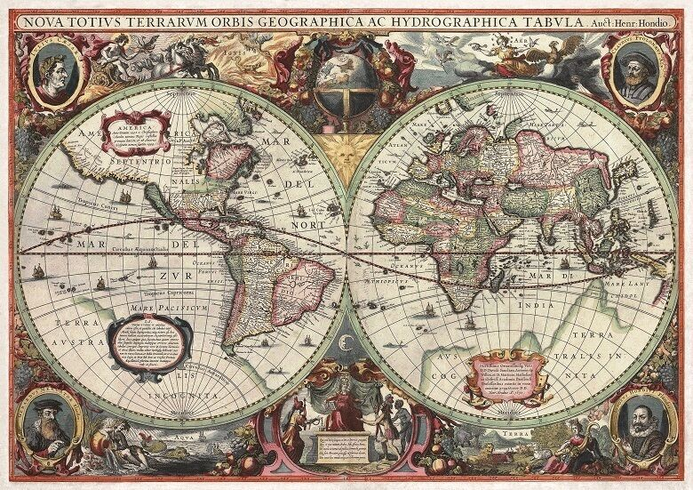 Antique world map 16th century vintage photo wallpaper for Antique mural wallpaper