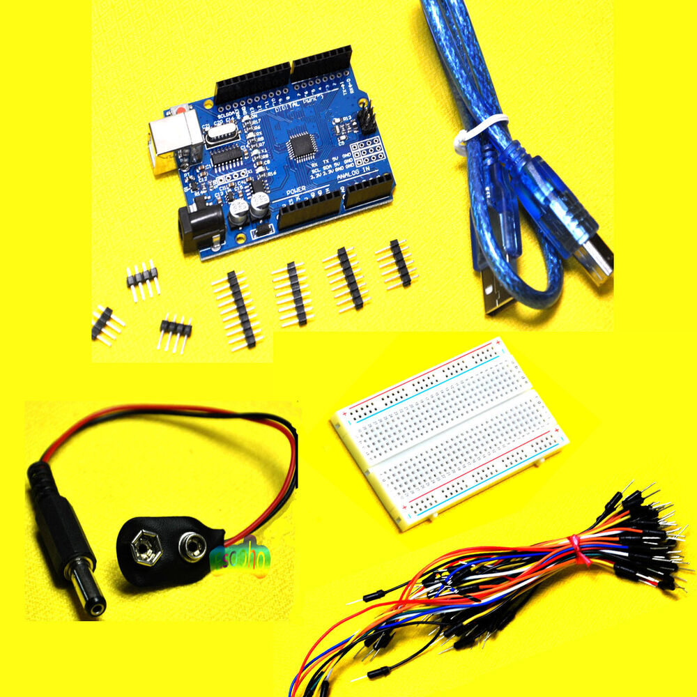 Starter kit for arduino uno r breadboard jumper wires