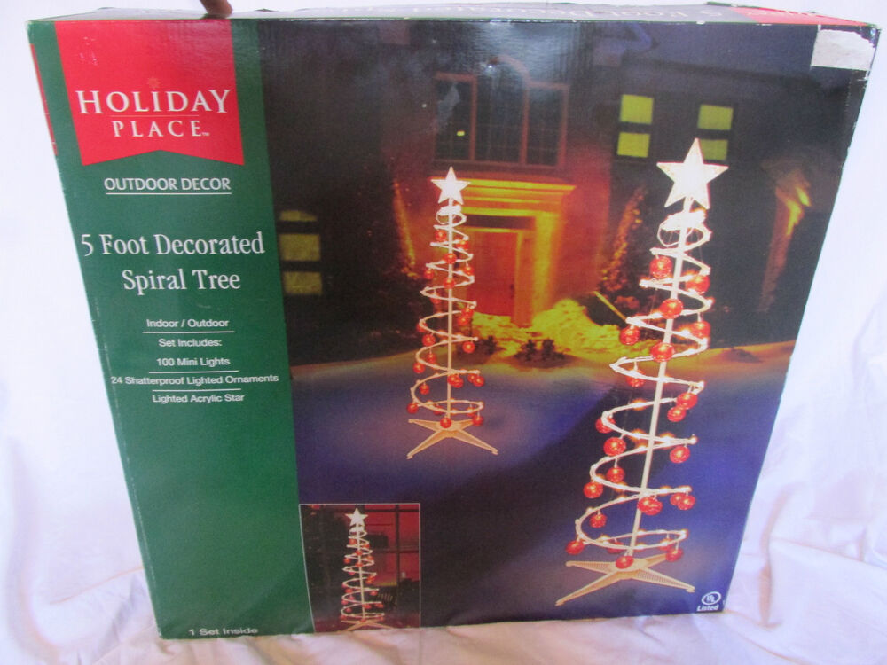 5ft Lighted Red Ornament Decorated Spiral Tree Christmas