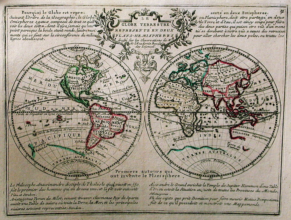 antique map le globe terrestre ebay. Black Bedroom Furniture Sets. Home Design Ideas