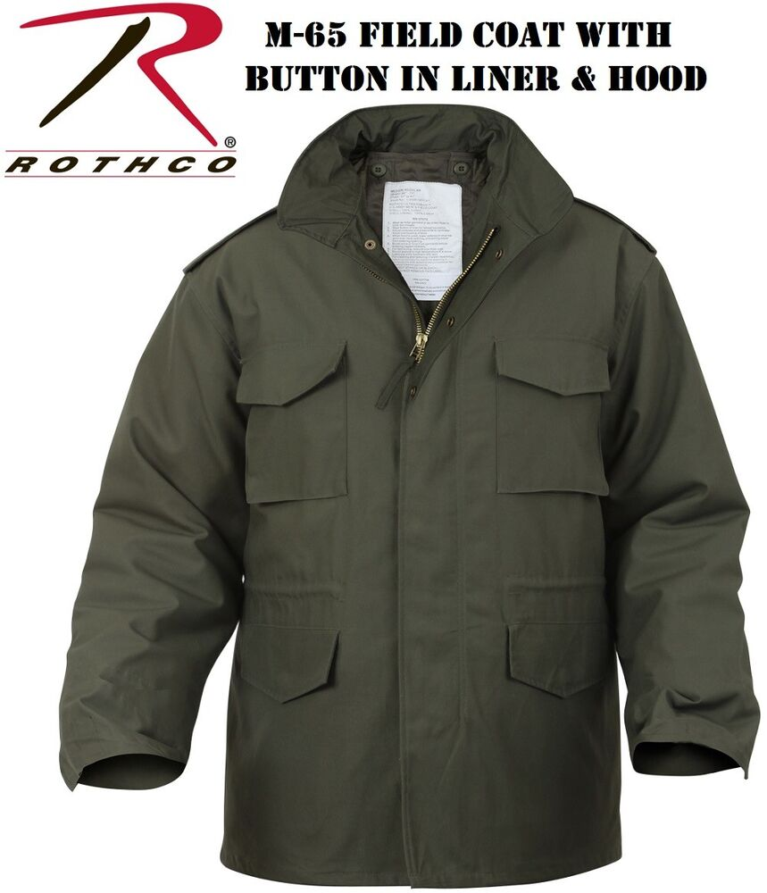 Olive Drab OD Green Military M-65 Field Jacket Coat With ...