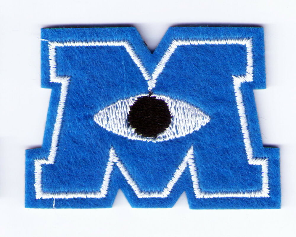 blue monsters inc m logo mike one eye embroidered woven