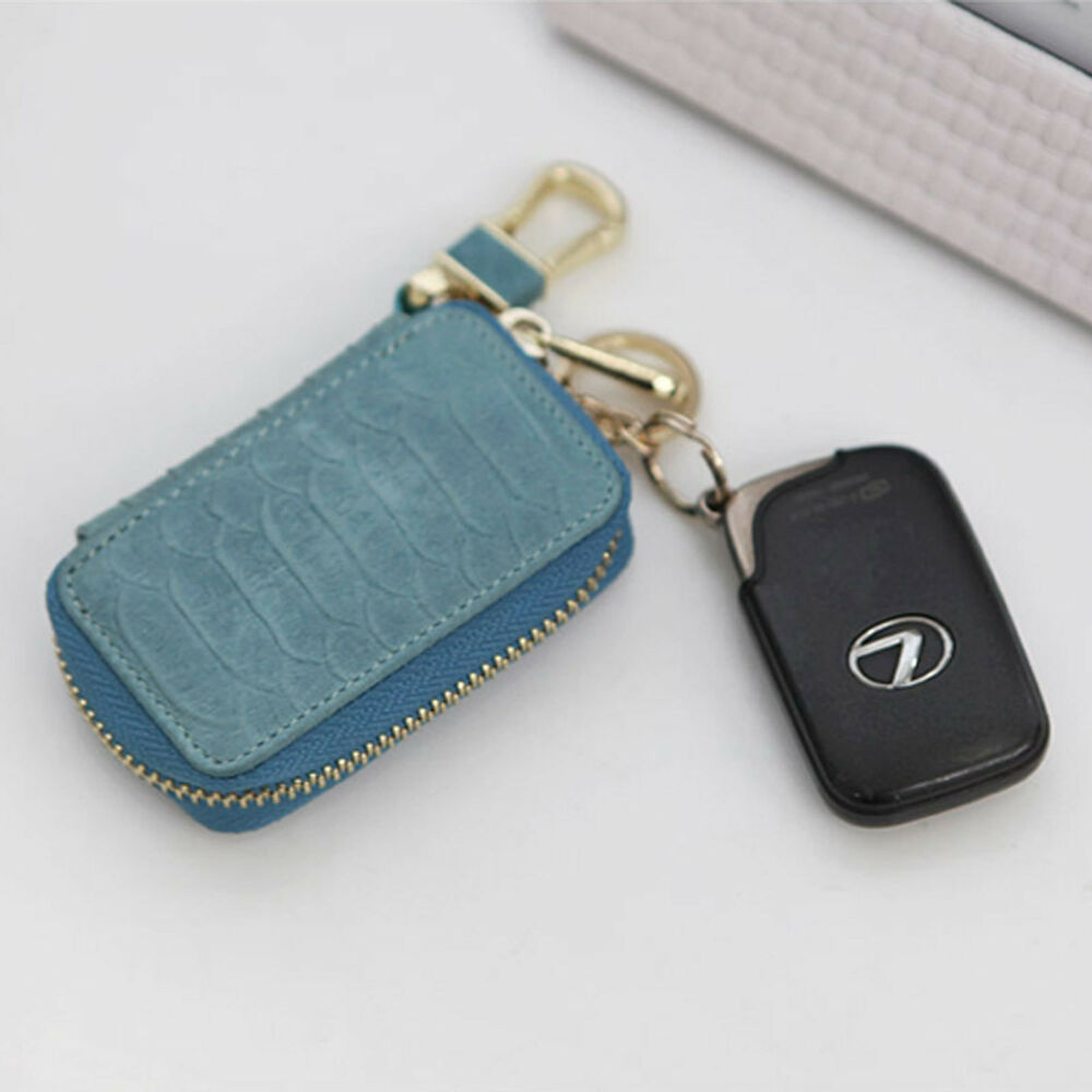 Women Genuine Leather Car Smart Key Holder Case Ring Small