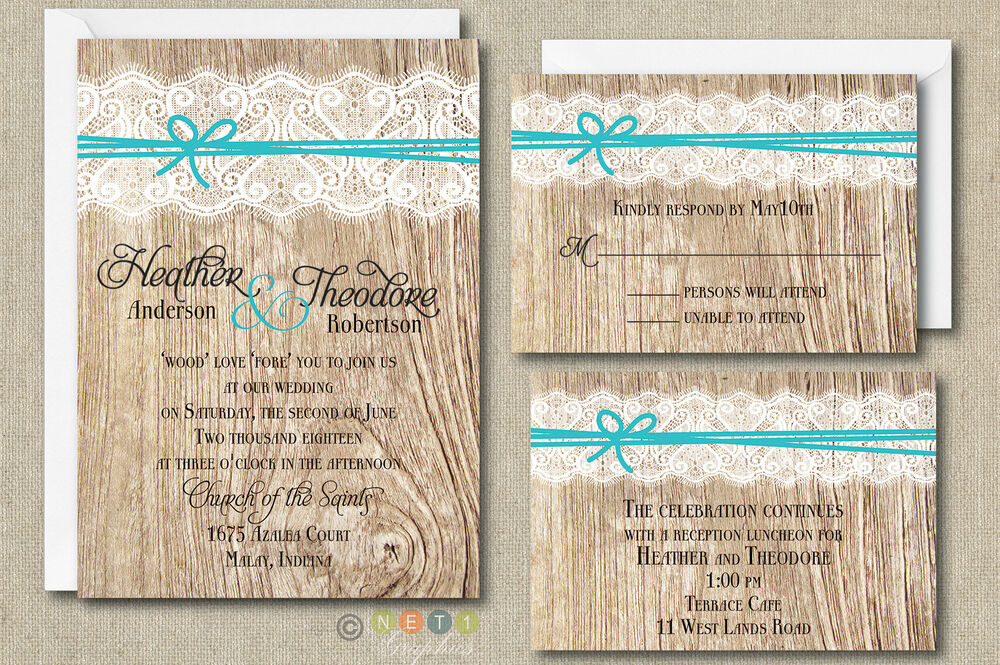 Cheap Customized Wedding Invitations: 100 Personalized Rustic Lace And Ribbon Wedding Invitation