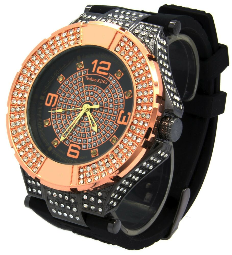 mens gold cz iced out bling techno king hip hop