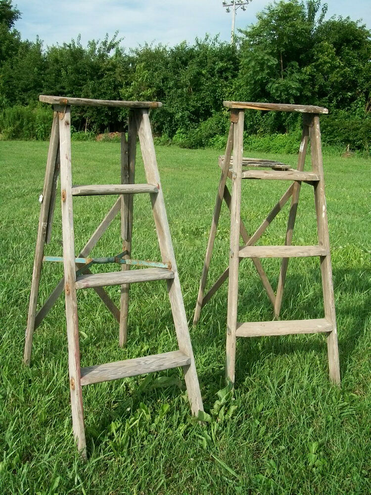 Vintage Wooden 4 Step Ladder for Decorating - Wood Surface ...