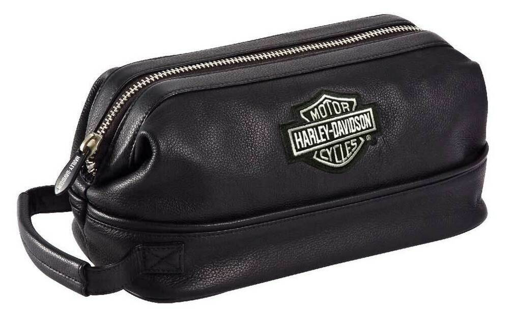 Harley Davidson Men S Black Leather Toiletry Kit Bag 99609