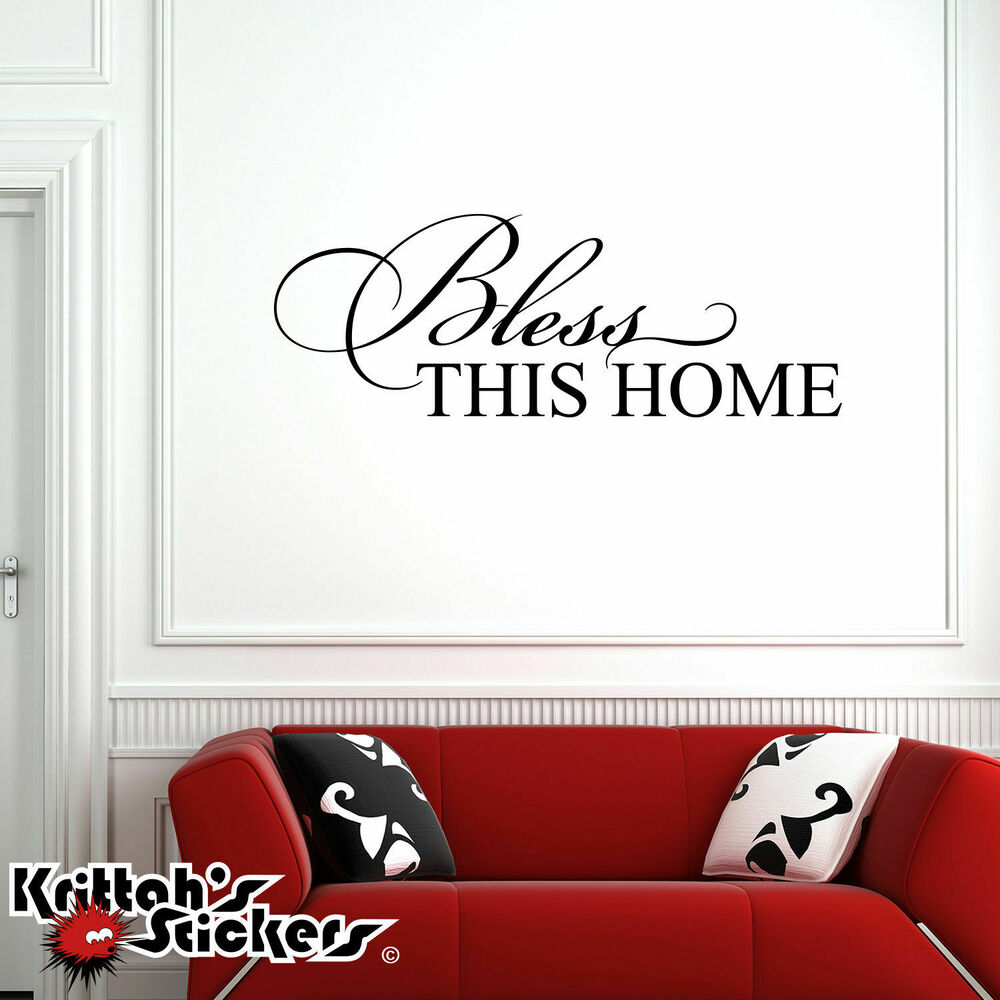 Bless this home vinyl wall decal religious quote home for Wall decals for home