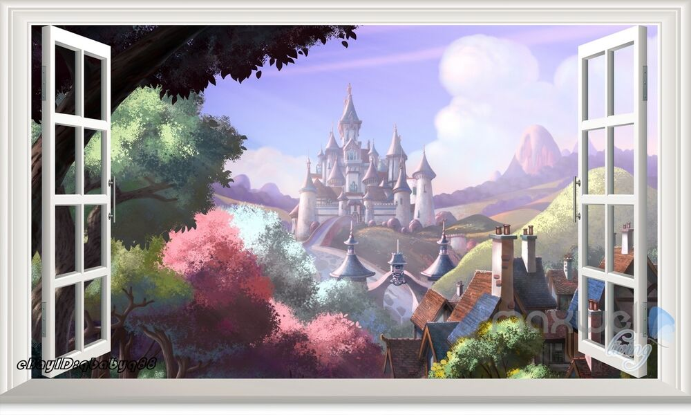 60x100 disney princess castle 3d window wall decals for Castle wall mural sticker