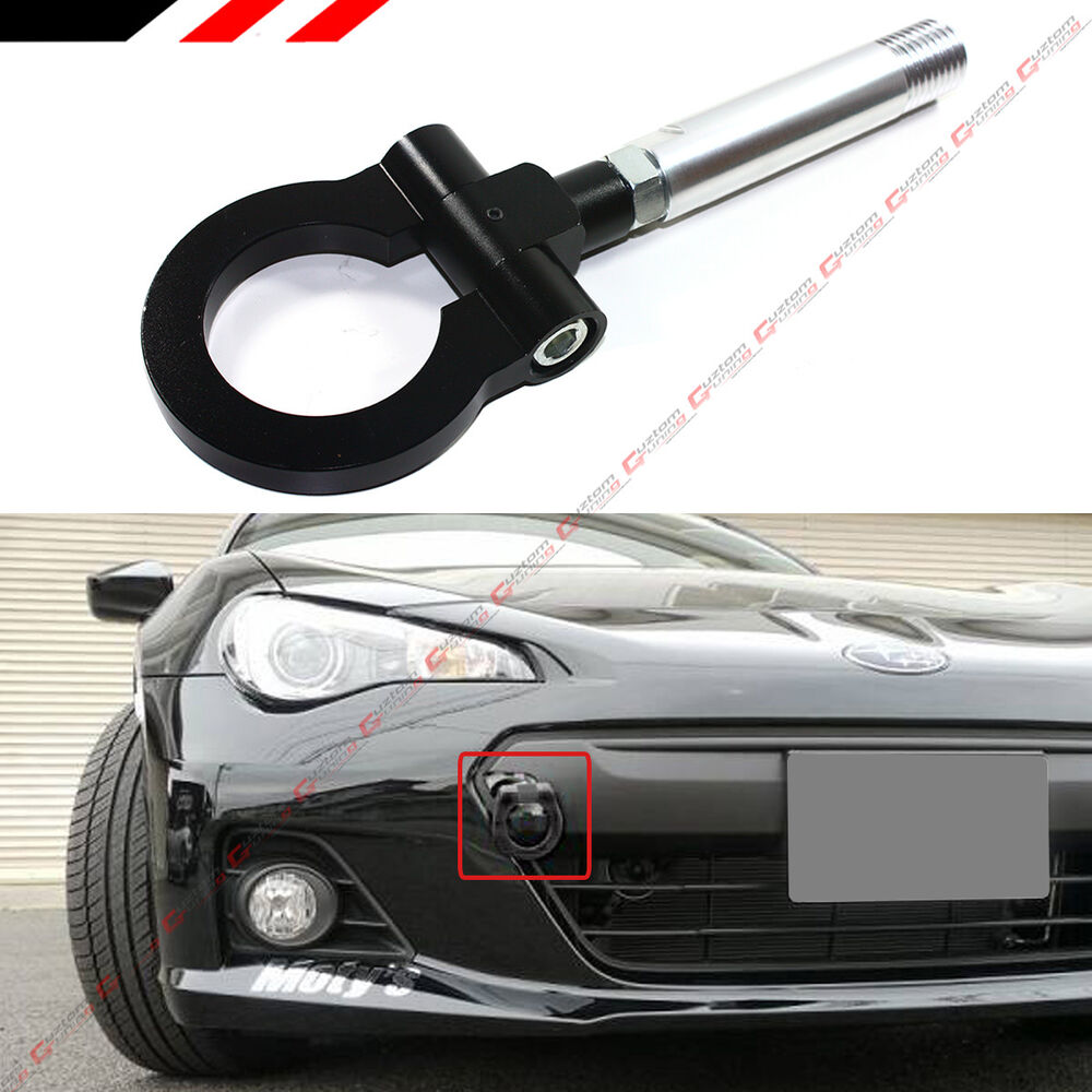 Scion Tc Front License Plate >> BLACK JDM BILLET FOLDING RING SCREW ON BUMPER TOW HOOK FOR SCION XB tC XA XD IQ | eBay