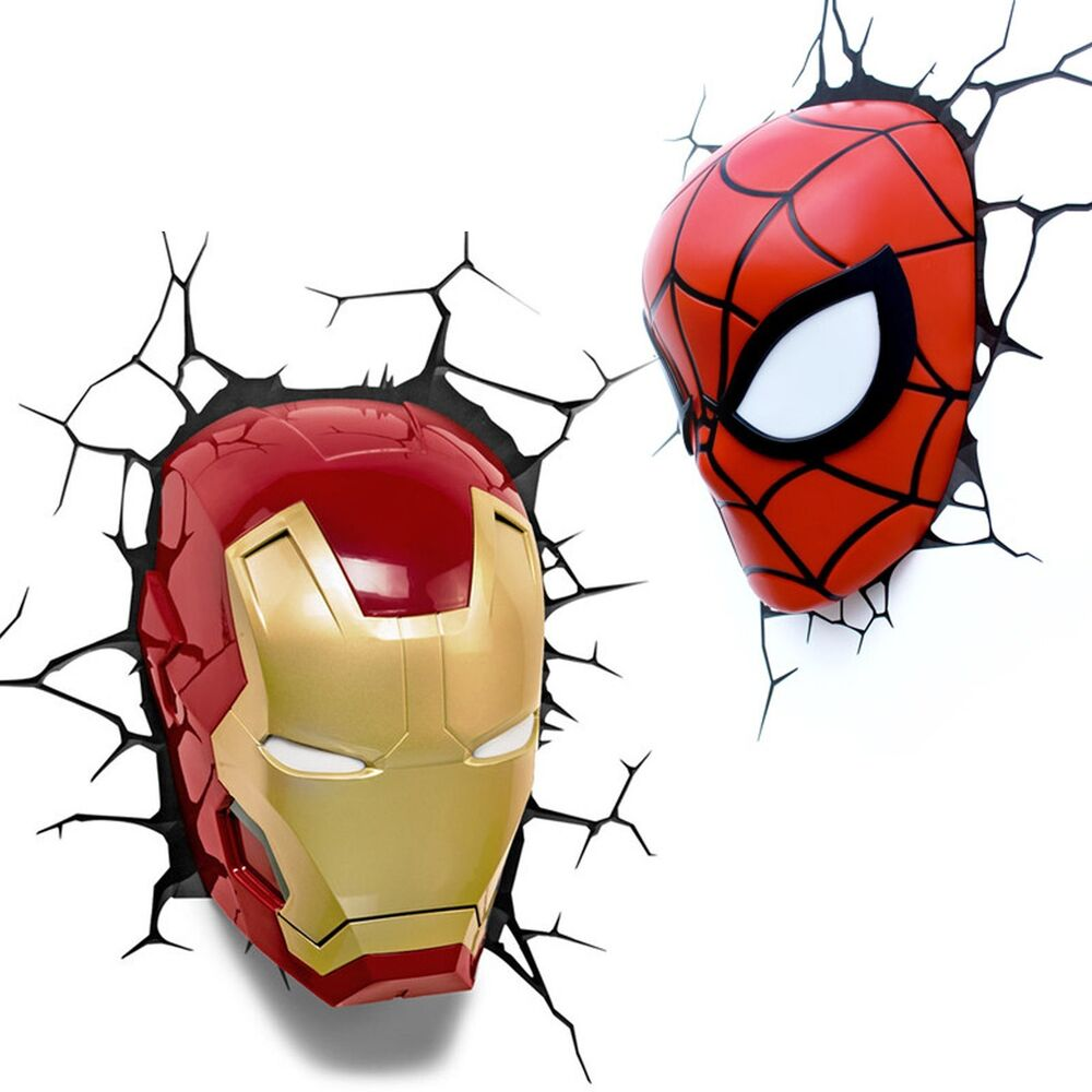3D FX Marvel Lights - Spiderman Iron Man 3D Deco Wall Night Light - Genuine eBay