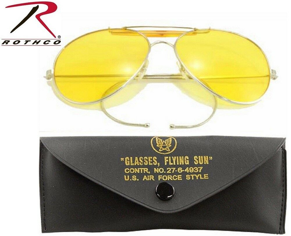 698b0d4a616 Details about Yellow Lense US Air Force Style Military Sunglasses   Case  58mm Rothco 10200