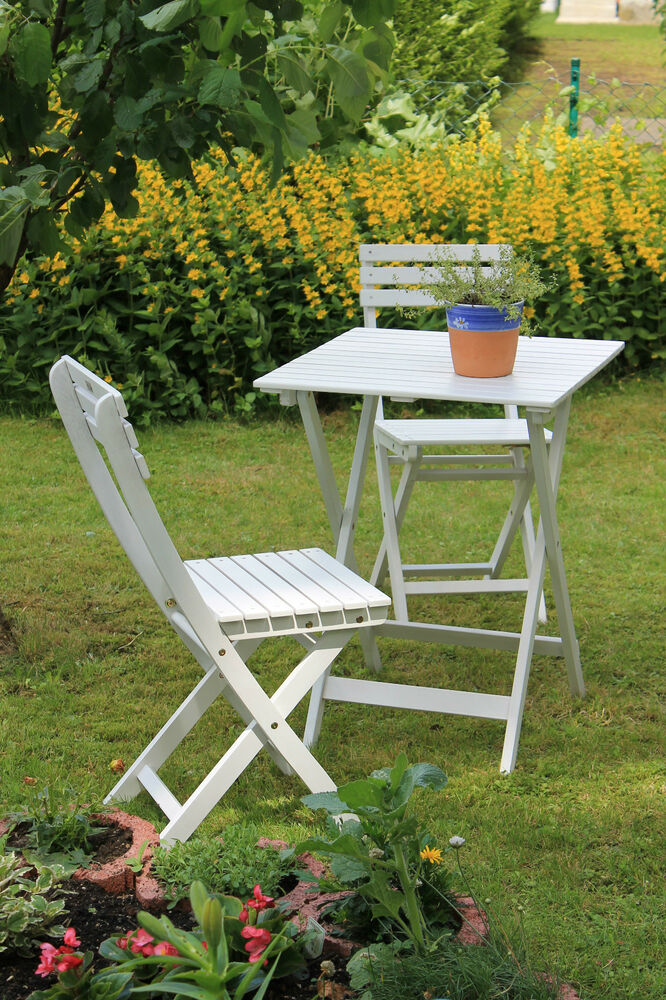 gartenset 3 teilig balkonset bistroset klappstuhl klapptisch gartenm bel wei ebay. Black Bedroom Furniture Sets. Home Design Ideas