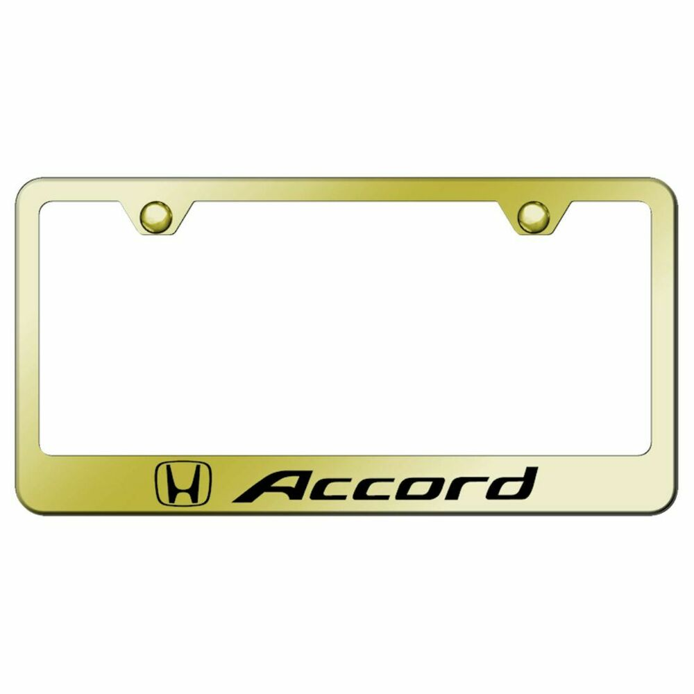 honda accord gold license plate frame laser etched genuine. Black Bedroom Furniture Sets. Home Design Ideas