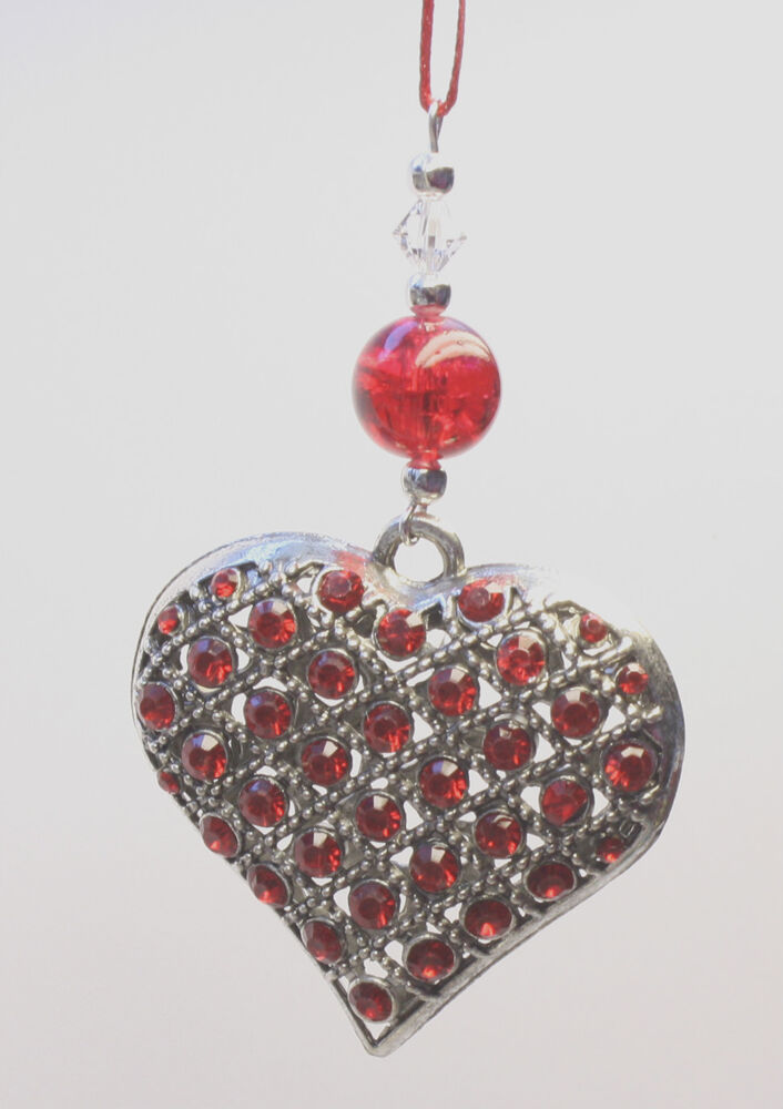 Christmas tree ornament decoration silver studded heart for Swarovski decoration crystals
