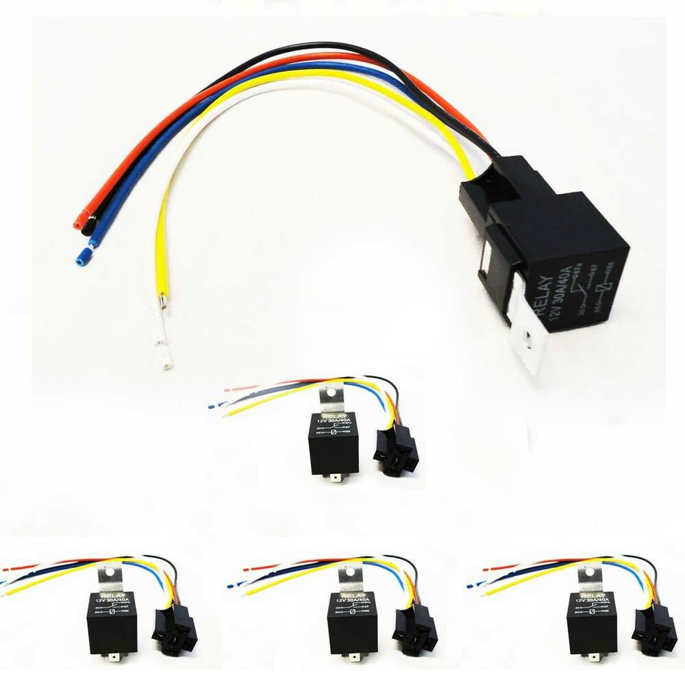 Fantastic Lot 5 Automotive 12 Volt 40 Amp Relay Socket Harness Spdt 5 Pin 5 Wiring Digital Resources Xeirawoestevosnl