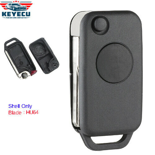 Replacement shell folding flip remote key case fob 1 btn for Mercedes benz replacement keys